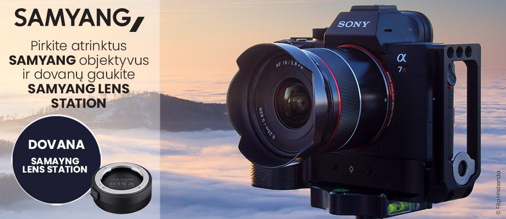 Pirkite Samyang AF Sony FE objektyvą ir nemokamai gausite Samyang Lens Station