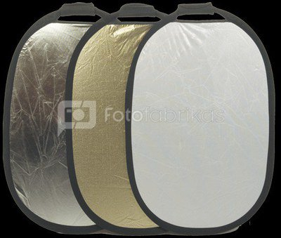 INTERFIT reflector 90x60cm silver/white with grip INT227