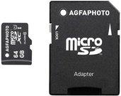 AgfaPhoto Mobile High Speed 64GB MicroSDXC Class 10 + Adapteris