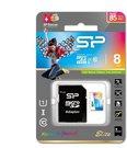 Atminties kortelė SILICON POWER 8GB, MICRO SDHC UHS-I, Class 10, with SD adapter, Color