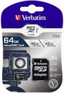Verbatim microSDXC Pro 64GB Class 10 UHS-I incl Adapter
