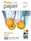 ColorWay High Glossy Photo Paper,180g/m, 20 sheets, A4
