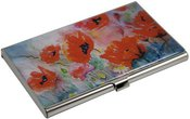 Dėklas vizitinėms kortelėms HW16 Aguonos 9,3x5,8x0,7 cm metalinis