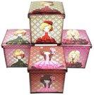Dėžė - pufas su mergaitės piešiniu 50248 37x37x37 cm.