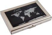 Dėžutė kortelėms su pasaulio žemėlapio piešiniu HK3 metalinė