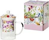 Indas arbatai plikyti stiklinis su gėlių piešiniu 450 ml 5902693912521