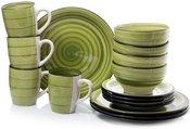 Indų rinkinys pietums 16 vnt. 4-iems asmenims 871125200350 žalias keramikinis