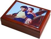 Prisiminimų dėžutė su nuotrauka (23x18cm., ruda)
