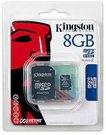 Kingston 8GB microSD atminties kortelė su SD adapteriu