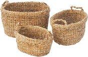 Krepšiai pinti su rankenomis iš jūros žolės 3 vnt. h 30cm, 26cm, h22 cm SAVEX