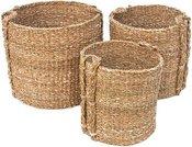 Krepšiai pinti su rankenomis iš jūros žolės 3 vnt. h 55cm, 50cm, 45cm SAVEX