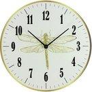 Laikrodis sieninis stiklinis su laumžirgio piešiniu D 30 cm HE826 baltas/aukso s