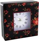 Laikrodis stalinis puoštas gėlės juodame fone 636CK H:13 W:13 D:5 cm psb