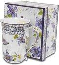Puodelis arbatai su gėlių piešiniu 12,5x13x9 cm 108762 ddm