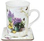 Puodelis arbatai su lėkštute 11x10x10 cm 98323 Provansas ddm
