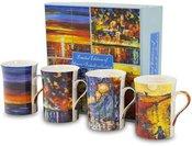 Puodukai arbatai 4 vnt su tapybos darbų pieš. 10x11x7,5 cm 106531 ddm