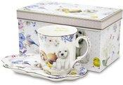 Puodukas su lėkštute 11x23x12 cm su šuniukų pieš.106557 ddm