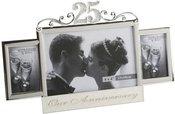Rėmelis trims nuotraukoms 25-tam vestuvių jubiliejui H:16 W:27 cm FS110025
