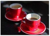 Reprodukcija ant porėmio raudoni puodeliai su kava 50x70 cm 102758, G93385