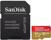 SanDisk memory card microSDXC 64GB Extreme Plus V30 A2 + adapter