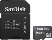 SanDisk MicroSDHC + SD Adapteris 16GB Class 4