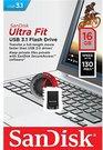 Sandisk Ultra Fit™ USB 3.1 - Small Form Factor Plug and Stay Hi-Speed USB Drive 16 GB, USB 3.1, Black