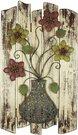 Sienos dekoracija vaza su gėlėmis metalas/medis H:79 W:45 D:5 cm MWA887