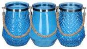 Vaza stiklinė su rankenėle mėlyna 16x22 cm 871125202431 3 rūšių