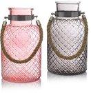 Vaza stiklinė su virvės rankena rožinė/pilka 11x25 cm HR16268 SAVEX
