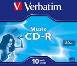 1x10 Verbatim CD-R 80 / 700MB Audio Color Live it Jewel Case