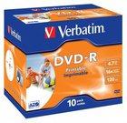 1x10 Verbatim DVD-R 4,7GB 16x Speed, Jewel Case, printable