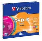 1x5 Verbatim DVD-R 4,7GB Colour 16x Speed, Slim Case