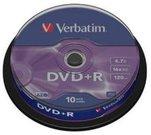1x10 Verbatim DVD+R 4,7GB 16x Speed, matt silver Cakebox