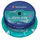 1x25 Verbatim DVD-RW 4,7GB 4x Speed, matt silver