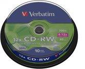 1x10 Verbatim CD-RW 80 / 700MB 10x Speed, Cakebox