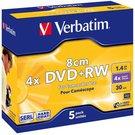 1x5 Verbatim DVD+RW 1,4GB JC 4x Speed, 8cm, matte silver