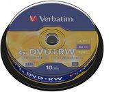 1x10 Verbatim DVD+RW 4,7GB 4x Speed, matte silver Cakebox