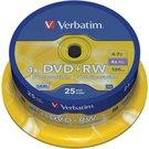 1x25 Verbatim DVD+RW 4,7GB 4x Speed, matt silver