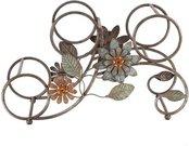 Vyninė 3 buteliams metalinė su gėlių ornamentais H:25,5 W:43 D:17,5 cm. MWA908