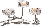 Žvakidė metalinė su stiklu skaidriu 3 žv. D7669 33x21x16cm SAVEX