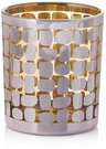 Žvakidė stiklinė aukso spalvos YQM8184-5 dia. 8.7*10cm SAVEX