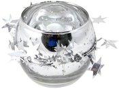 Žvakidė stiklinė sidabro spalvos 7x8x8 cm 88872 kld