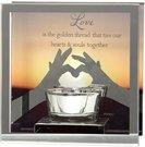Žvakidė stiklinė vienai žvakutei Love H:12 W:12 D:6 cm 61569