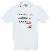 Vyriški polo marškinėliai su Jūsų nuotrauka, užrašu, balti