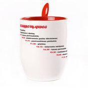 Puodelis su šaukšteliu. Raudonas (250 ml)
