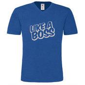 Vyriški marškinėliai V formos apykakle su Jūsų nuotrauka, užrašu, tamsiai mėlyni