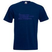 Vyriški marškinėliai su Jūsų nuotrauka, užrašu, mėlyni