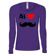 Moteriški marškinėliai ilgomis rankovėmis su Jūsų nuotrauka, užrašu, violetiniai