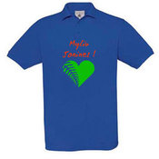 Vyriški polo marškinėliai su Jūsų nuotrauka, užrašu, mėlyni