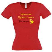 Moteriški marškinėliai V formos apykakle su Jūsų nuotrauka, užrašu, raudoni